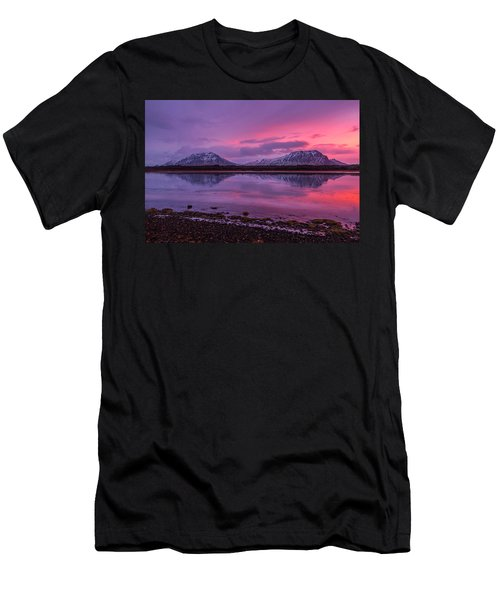 Men's T-Shirt (Athletic Fit) featuring the photograph Twin Mountain Sunrise by Pradeep Raja Prints