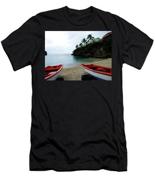 Men's T-Shirt (Slim Fit) featuring the photograph Two Boats, Island Of Curacao by Kurt Van Wagner