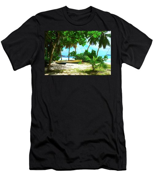 Two Boats On Tropical Beach Men's T-Shirt (Athletic Fit)