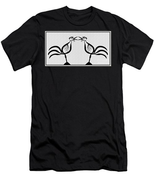 Two Crowing Roosters  Men's T-Shirt (Slim Fit) by Sarah Loft