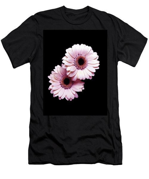 Two Gerberas On Black Men's T-Shirt (Athletic Fit)
