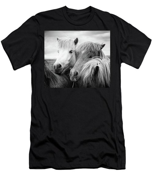 Two Icelandic Horses Black And White Men's T-Shirt (Athletic Fit)