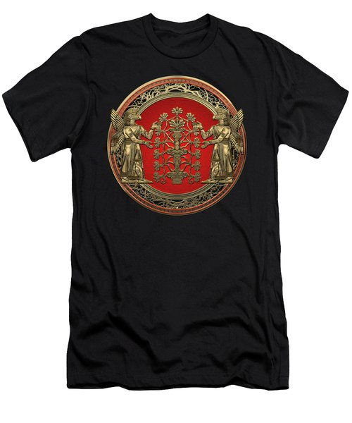 Two Instances Of Gold God Ninurta With Tree Of Life Black Velvet Men's T-Shirt (Athletic Fit)