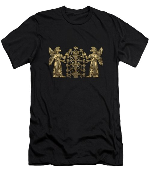 Two Instances Of Gold God Ninurta With Tree Of Life Over Black Canvas Men's T-Shirt (Athletic Fit)