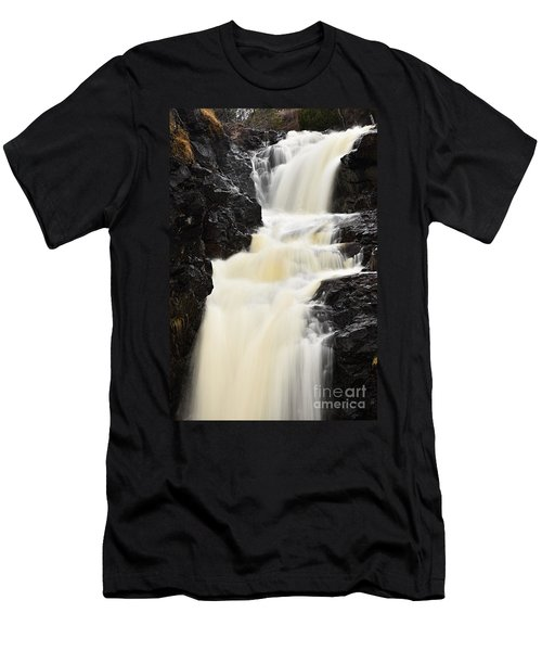 Men's T-Shirt (Slim Fit) featuring the photograph Two Island River Waterfall by Larry Ricker