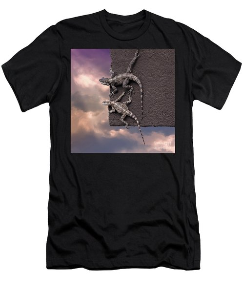 Two Lizards On The Edge Of The Roof Men's T-Shirt (Athletic Fit)