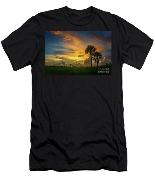 Two Palm Silhouette Sunrise Men's T-Shirt (Athletic Fit)