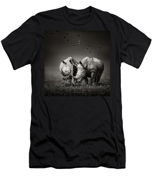 Two Rhinoceros With Birds In Bw Men's T-Shirt (Athletic Fit)