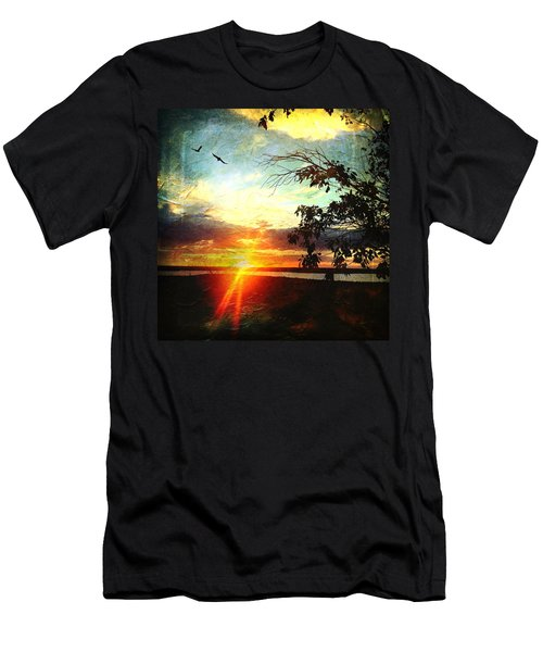 Two Souls Flying Off Into The Sunset  Men's T-Shirt (Slim Fit) by Debra Martz