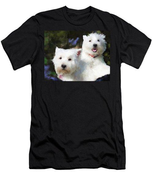 Two Westies Men's T-Shirt (Slim Fit) by Debra Baldwin