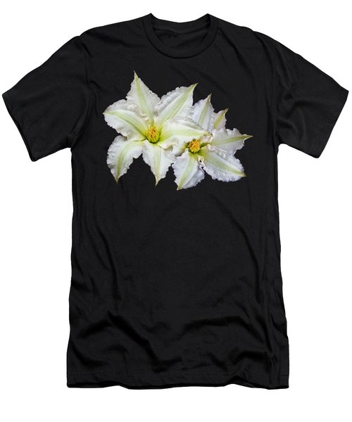 Two White Clematis Flowers On Black Men's T-Shirt (Slim Fit) by Jane McIlroy