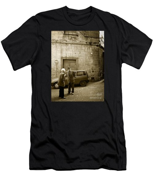 Men's T-Shirt (Athletic Fit) featuring the photograph Typical Italian Street Scene In Sepia by IPics Photography