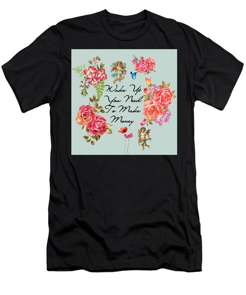 Typography Flowers  Men's T-Shirt (Athletic Fit)