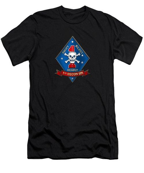 U S M C  1st Reconnaissance Battalion -  1st Recon Bn Insignia Over Black Velvet Men's T-Shirt (Athletic Fit)