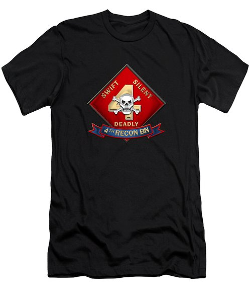 U S M C  4th Reconnaissance Battalion -  4th Recon Bn Insignia Over Black Velvet Men's T-Shirt (Athletic Fit)