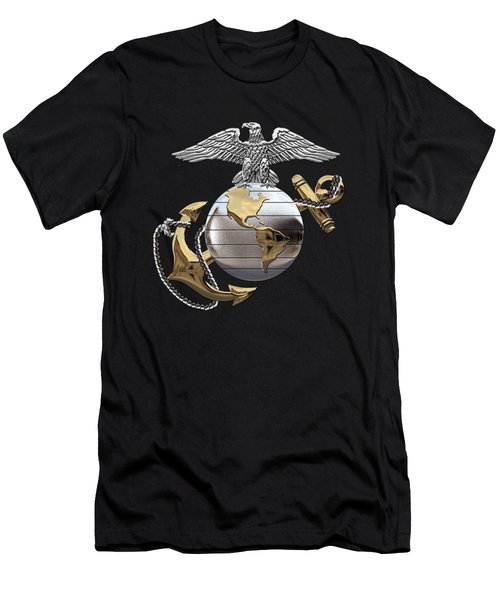 U S M C Eagle Globe And Anchor - C O And Warrant Officer E G A Over Black Velvet Men's T-Shirt (Athletic Fit)