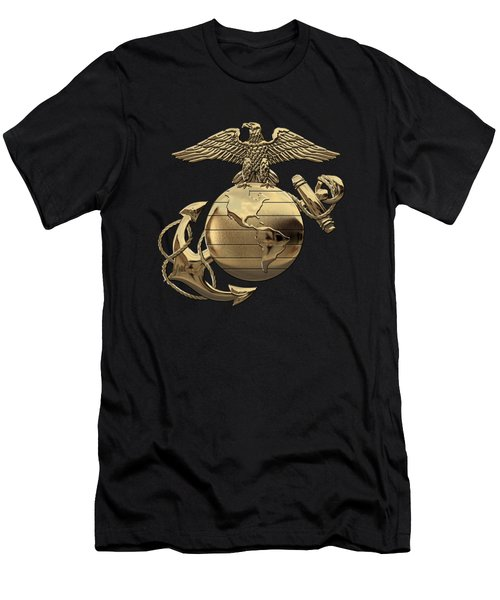 U S M C Eagle Globe And Anchor - N C O And Enlisted E G A Over Black Velvet Men's T-Shirt (Athletic Fit)