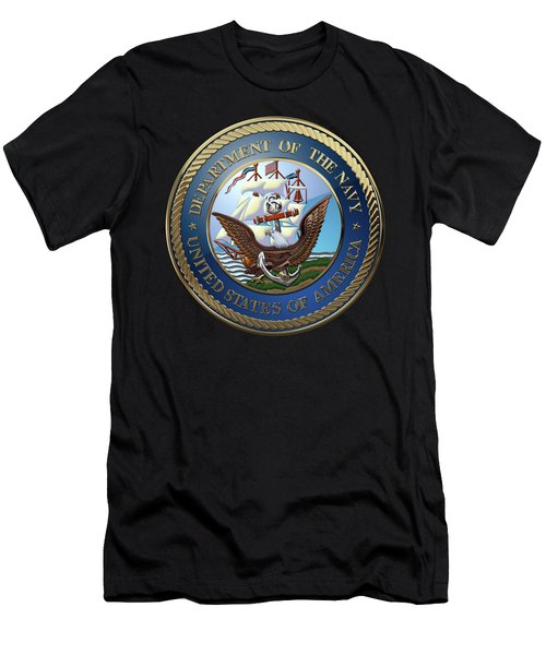 U. S.  Navy  -  U S N Emblem Over Red Velvet Men's T-Shirt (Athletic Fit)