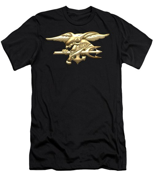 U. S. Navy S E A Ls Emblem On Black Velvet Men's T-Shirt (Athletic Fit)
