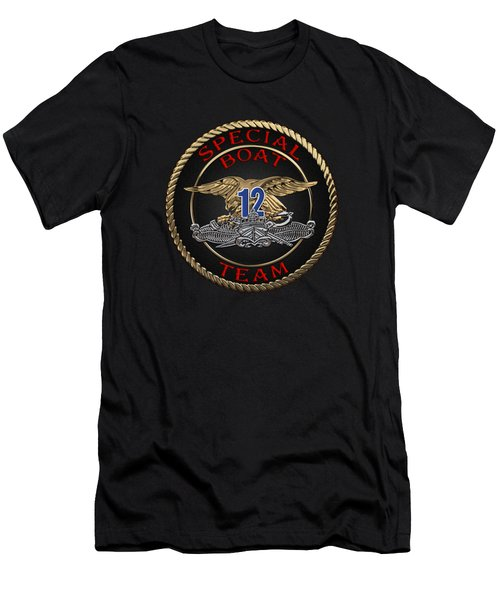 U. S. Navy S W C C - Special Boat Team 12   -  S B T 12  Patch Over Black Velvet Men's T-Shirt (Slim Fit)