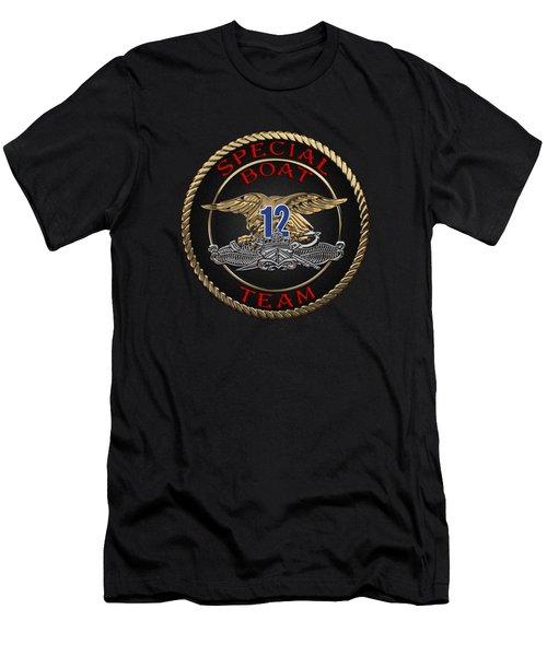 U. S. Navy S W C C - Special Boat Team 12   -  S B T 12  Patch Over Black Velvet Men's T-Shirt (Athletic Fit)
