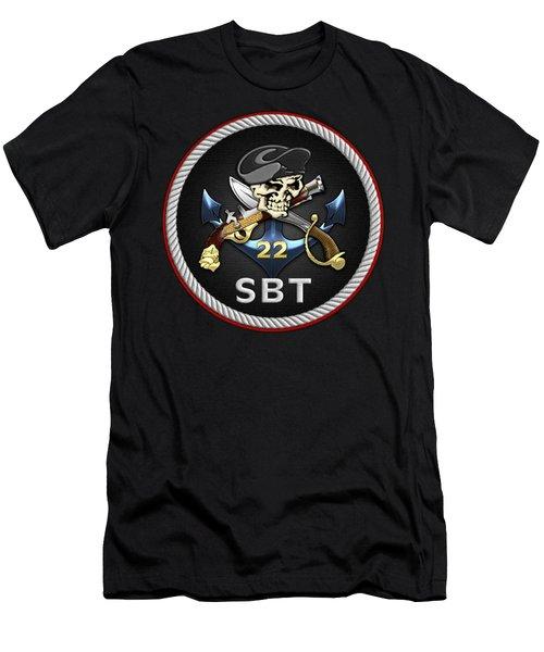 U. S. Navy S W C C - Special Boat Team 22  -  S B T 22  Patch Over Black Velvet Men's T-Shirt (Athletic Fit)