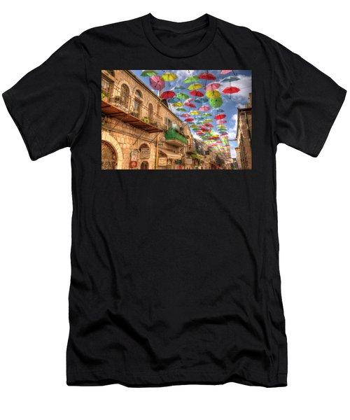 Umbrellas Over Jerusalem Men's T-Shirt (Athletic Fit)