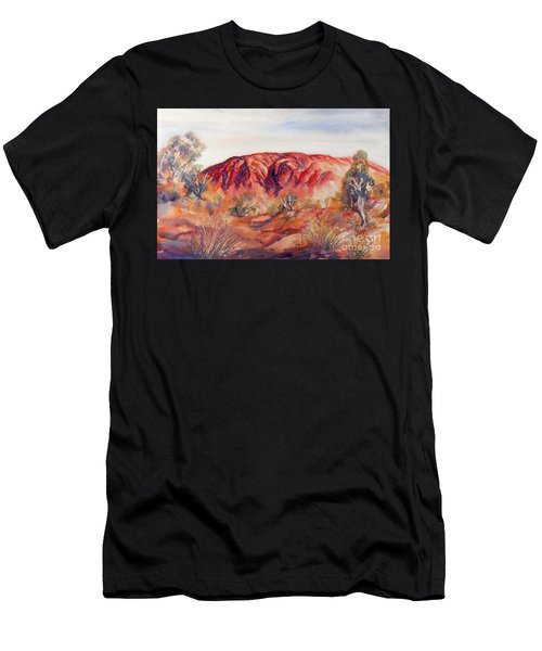 Men's T-Shirt (Athletic Fit) featuring the painting Uluru, Central Australia, by Ryn Shell