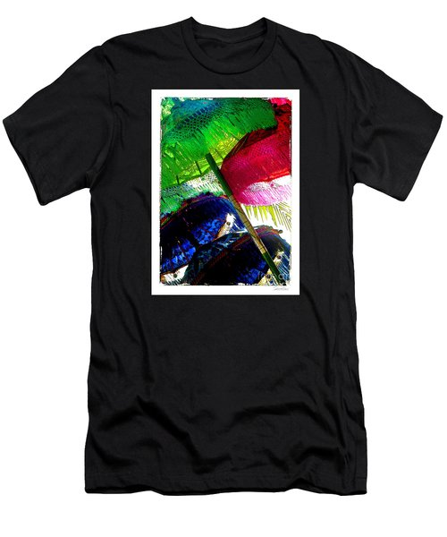 Umbrellas Colorful Men's T-Shirt (Slim Fit) by Linda Olsen