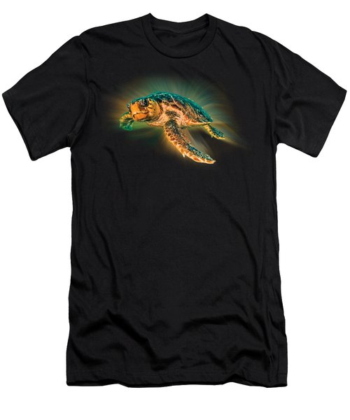 Men's T-Shirt (Slim Fit) featuring the photograph Undersea Turtle by Debra and Dave Vanderlaan