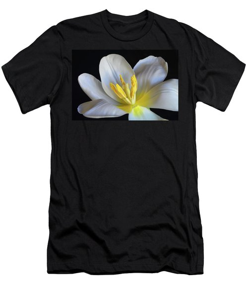 Men's T-Shirt (Slim Fit) featuring the photograph Unfolding Tulip. by Terence Davis