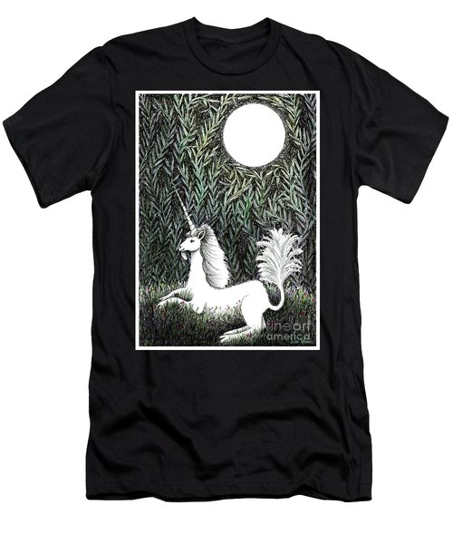 Men's T-Shirt (Slim Fit) featuring the drawing Unicorn In Moonlight by Lise Winne