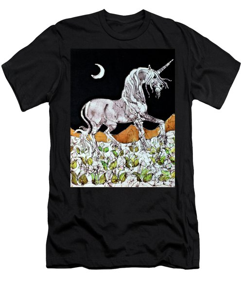 Unicorn Over Flower Field Men's T-Shirt (Athletic Fit)