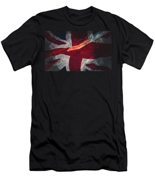 Union Jack Fine Art, Abstract Vision Of Great Britain Flag Men's T-Shirt (Athletic Fit)