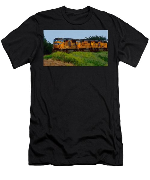 Men's T-Shirt (Athletic Fit) featuring the digital art Union Pacific Line by Shelli Fitzpatrick