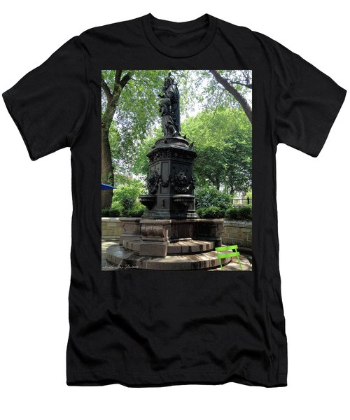 Men's T-Shirt (Athletic Fit) featuring the photograph Union Square Park Water Fountain by Iowan Stone-Flowers
