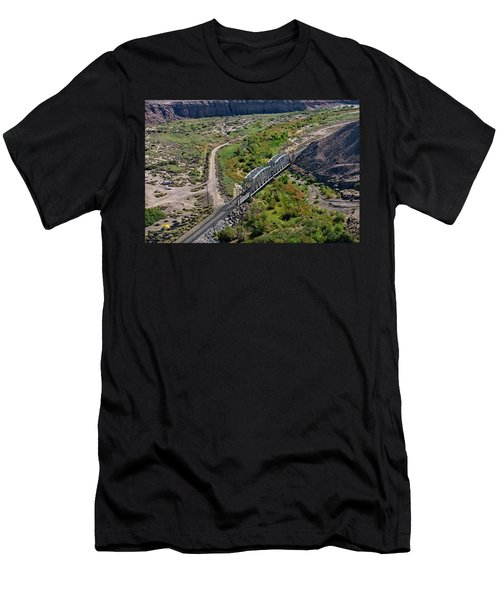 Men's T-Shirt (Athletic Fit) featuring the photograph Up Tracks Cross The Mojave River by Jim Thompson