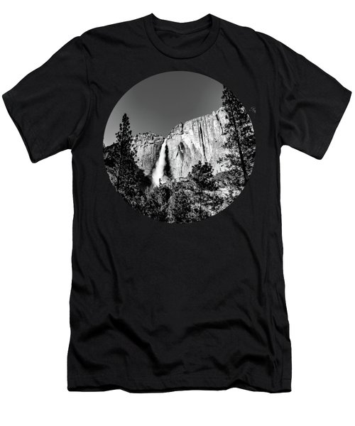 Upper Falls, Black And White Men's T-Shirt (Athletic Fit)