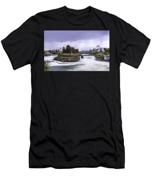 Upper Spokane Falls On A Rainy Day Men's T-Shirt (Athletic Fit)