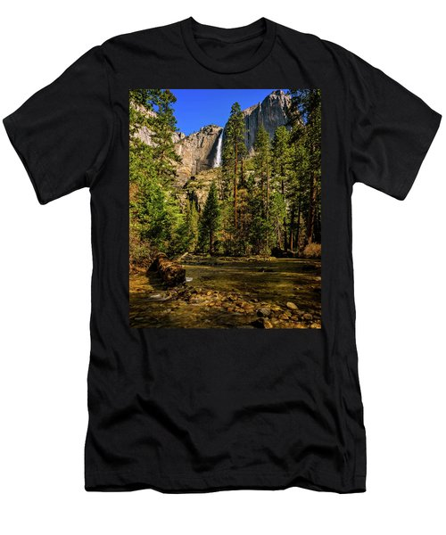Men's T-Shirt (Athletic Fit) featuring the photograph Upper Yosemite Falls From Yosemite Creek by John Hight