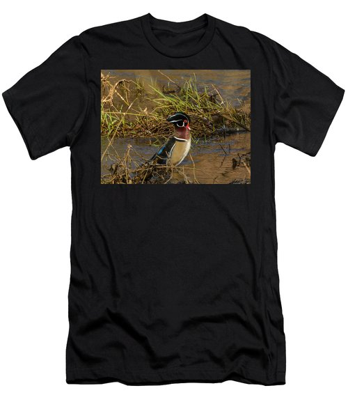 Upright Wood Duck Men's T-Shirt (Slim Fit) by Jerry Cahill