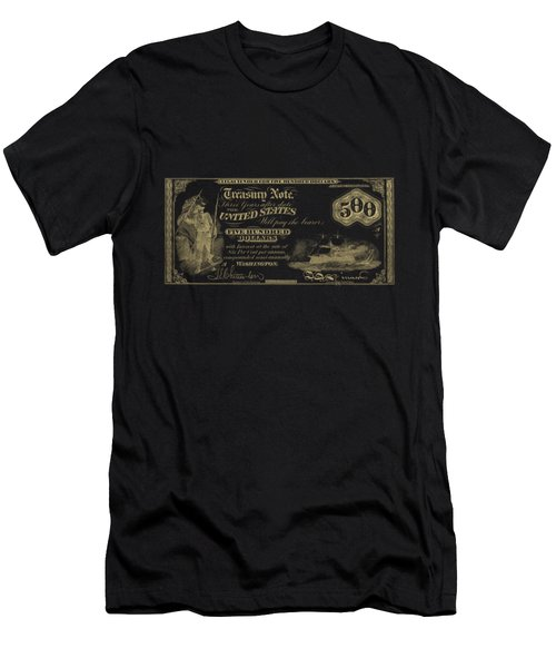 Men's T-Shirt (Slim Fit) featuring the digital art U.s. Five Hundred Dollar Bill - 1864 $500 Usd Treasury Note In Gold On Black by Serge Averbukh