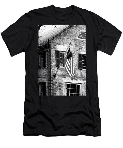 Us Flag In Colonial Williamsbug Men's T-Shirt (Slim Fit) by Emanuel Tanjala