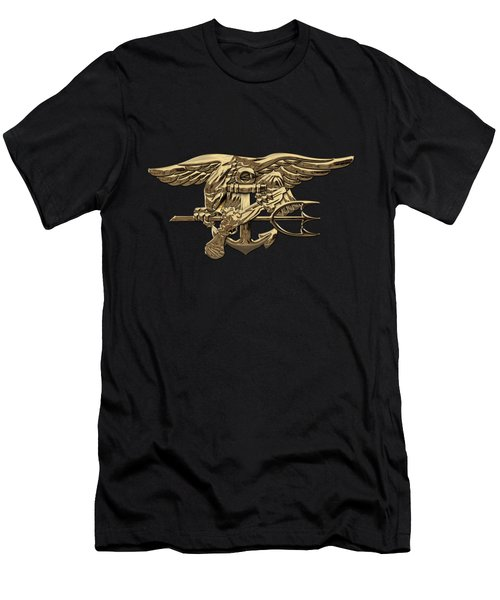 U.s. Navy Seals Trident Over Black Flag Men's T-Shirt (Athletic Fit)
