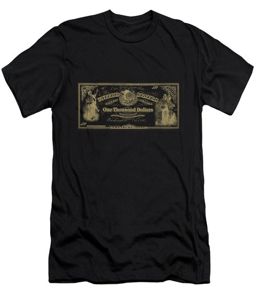 Men's T-Shirt (Slim Fit) featuring the digital art U. S. One Thousand Dollar Bill - 1863 $1000 Usd Treasury Note In Gold On Black by Serge Averbukh