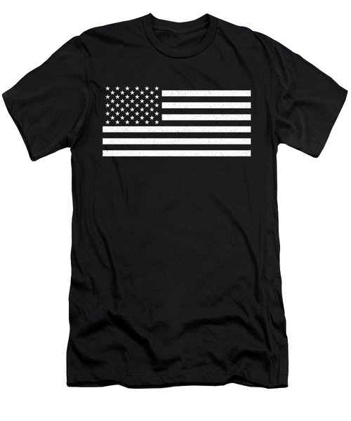 Men's T-Shirt (Slim Fit) featuring the digital art Usa Flag Hidef Super Grunge Patina by Bruce Stanfield
