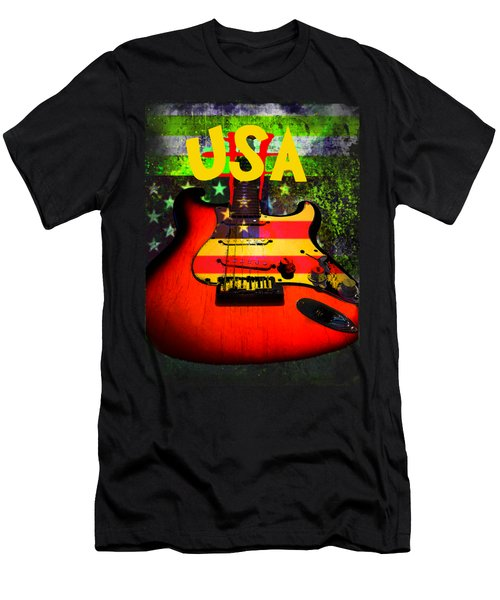 Usa Guitar Music Men's T-Shirt (Athletic Fit)