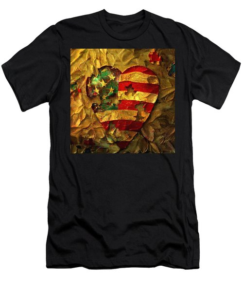 Usa Heart Men's T-Shirt (Athletic Fit)