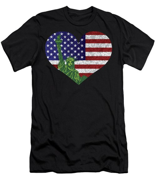 Usa Heart Flag And Statue Of Liberty Men's T-Shirt (Athletic Fit)