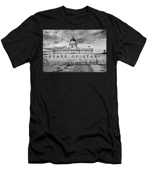 Utah Capitol Black And White Men's T-Shirt (Athletic Fit)